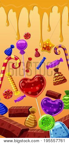 Sweets cakes vertical banner concept. Cartoon illustration of sweets cakes banner vertical vector for web