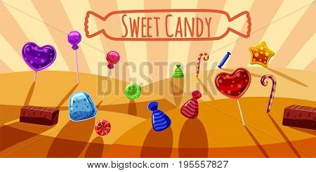 Sweets valley banner horizontal concept. Cartoon illustration of sweets valley banner horizontal vector for web