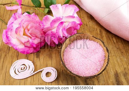 Pink Rose And Bath Salt In A Bowl