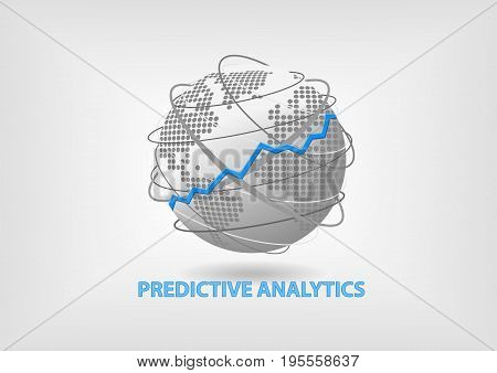 Predictive Analytics concept as vector illustration with global network