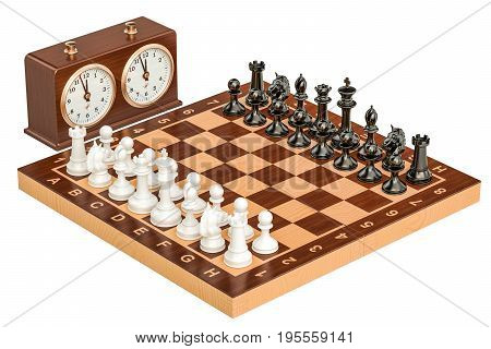Chess with chess clock 3D rendering isolated on white background