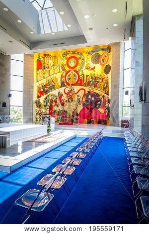 GALILEE ISRAEL - JUNE 24: Interior of the Church for celebrations with Mural in Domus Galilaeae on the Mount of Beatitudes near the Sea of Galilee Israel on June 24 2017