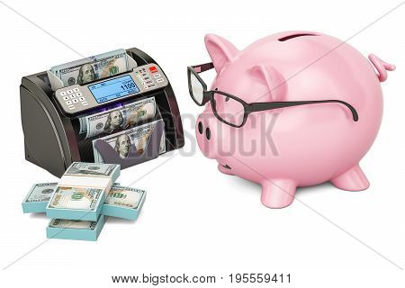 Money counting machine with dollars and piggy bank 3D rendering