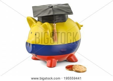 Savings for education in Colombia concept 3D rendering isolated on white background