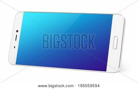 Modern white smartphone with blue touch screen standing on the side. Smart phone in horizonta isolated on white background with clipping path