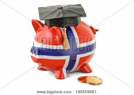 Savings for education in Norway concept 3D rendering isolated on white background