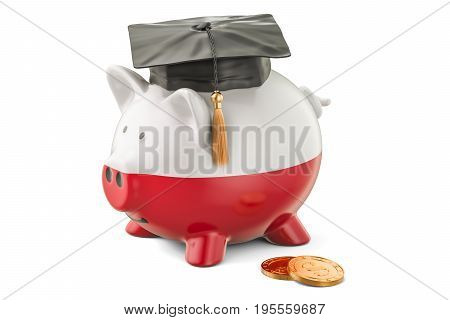 Savings for education in Poland concept 3D rendering isolated on white background