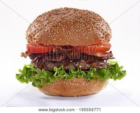 Bacon burger isolated on white background.