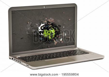 Tennis ball flying through broken monitor of laptop 3D rendering isolated on white background