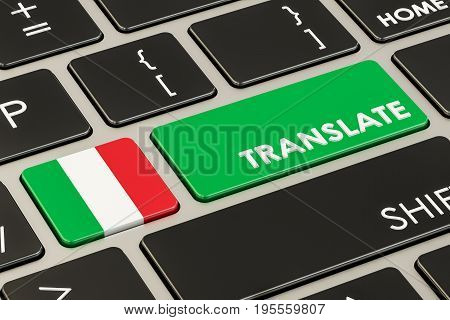 Translate concept on keyboard with Italian flag 3D rendering