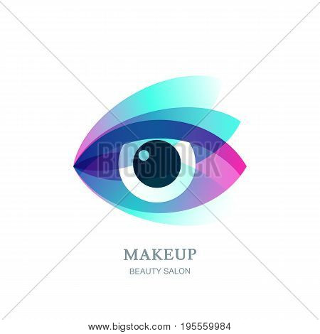 Female Beautibul Eye On Flower Leaves Background. Vector Logo, Label, Emblem Design Element.