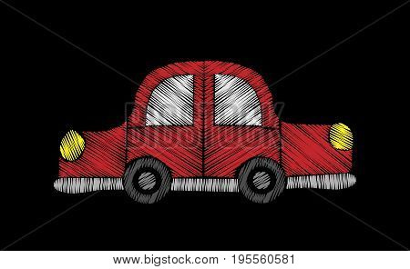 Red car embroidery stitches imitation. Fashion embroidery car for patch fabric and other child design. Vector embroidery car.