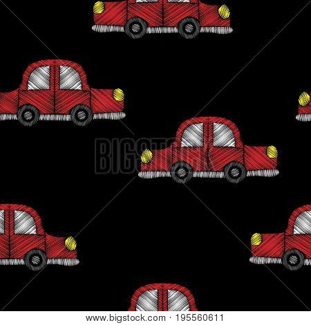 Seamless pattern with red car embroidery stitches imitation. Embroidery background for child with car. Embroidery red car seamless pattern.