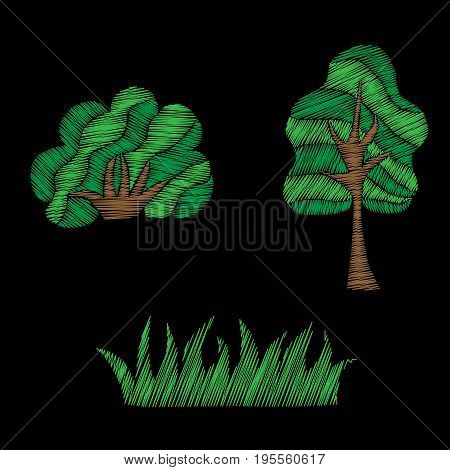 Tree and bush with grass embroidery stitches imitation. Fashion patch with tree and bush with grass illustration.