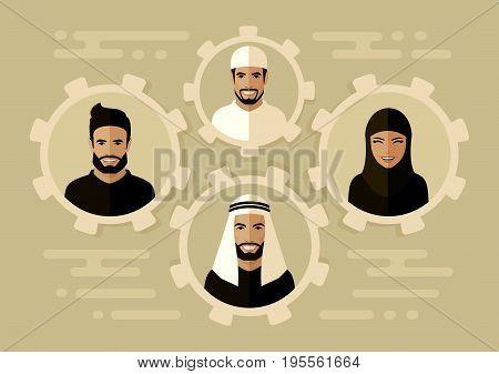 smile arab people group, saudi business team, team work concept