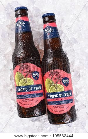 IRVINE CA - JULY 16 2017: Samuel Adams Tropic of Yuzu on ice. From the Boston Beer Company. Based on sales in 2016 it is the second largest craft brewery in the U.S.