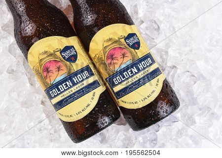 IRVINE CA - JULY 16 2017: Samuel Adams Golden Hour on ice. From the Boston Beer Company. Based on sales in 2016 it is the second largest craft brewery in the U.S.