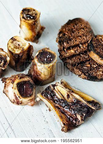 close up of rustic english bone marrow toast