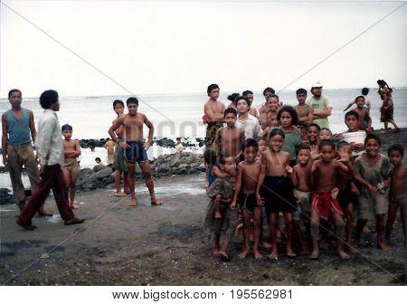 SAVAI'I / SAMOA - CIRCA 1990: Samoan children pose for a photograph on the island of Savai'i.