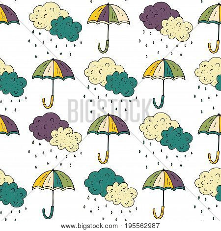 Autumn seamless pattern with doodle umbrellas. Vector cartoonillustration on white background.