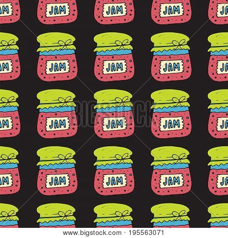Seamless pattern with jam, marmalade. Doodle vector illustration. Can be used for web page backgrounds, textile designs, fills, banners, cards, sale posters.