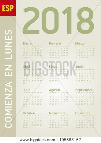 Simple Calendar For Year 2018, In Vectors. In Spanish. Week Starts On Monday.