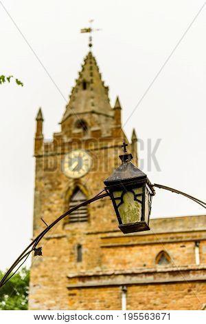 Low view of Milton Malsor Church Northampton UK.
