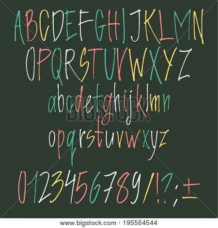 Calligraphic font. Handwritten alphabet in brush style. Modern script in vector. Handmade letters.