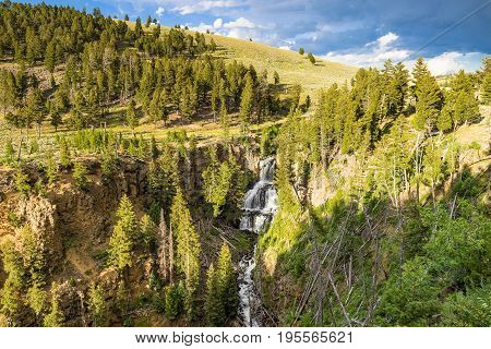 Yellowstone National Park Waterfall from mountaintop in summer