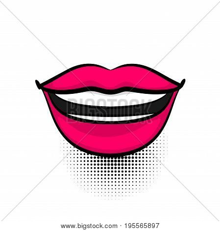 Pop art woman smile, dare, open lips, wow tooth, dental. Comics book girl face body part kitch. Cartoon girl lipstick label tag expression. Funny mood emotion sound effects. Vector illustration.