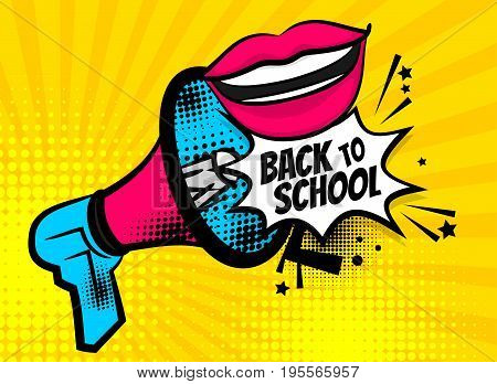 Pop art megaphone pink woman smile lips back to school. Comics book balloon. Bubble icon speech phrase. Cartoon girl lipstick font label tag expression. Comic text sound effects. Vector illustration.