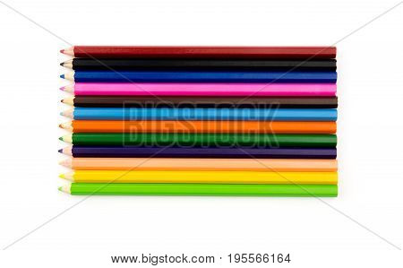 Color Pencils Isolated On White Background Close Up With Clipping Path.beautiful Color Pencils.color