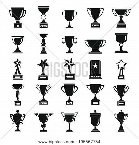 Trophy and awards cup black simple flat silhouette icons set vector illustration