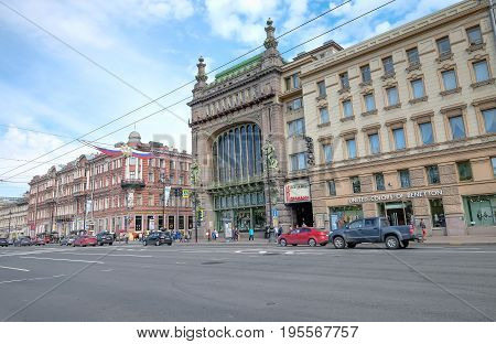 SAINT PETERSBURG RUSSIA MAY 23 2017: Nevsky Prospekt in the city of St. Petersburg Russia. Many building around here and it look like the European style. classic and attractive one of destination.
