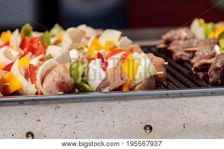 Chicken, Beef And Onion Kabobs On A Barbecue Grill