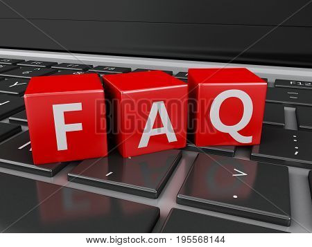 3D Close Up View Of Faq Cubes On Keyboard