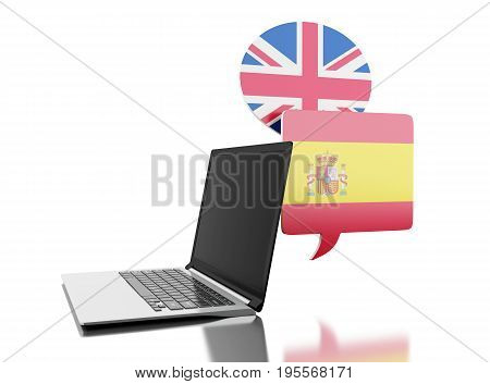 3D Translate Spanish And English With Laptop Computer.