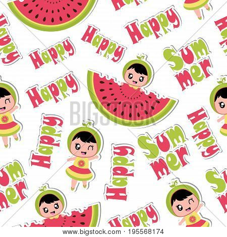 Summer seamless pattern with cute girl and watermelon vector cartoon for summer wallpaper and scrap paper