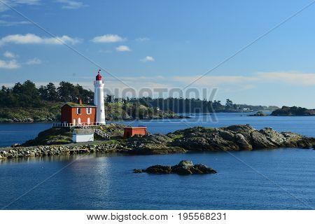 Victoria BC,Canada,February 29th 2015.Scenic landscape of the Fisgard Lighthouse at Fort Rodd Hill Park in Victoria BC.