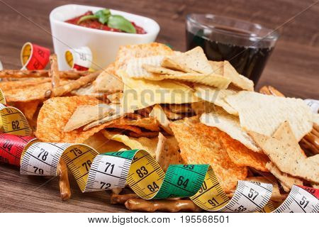 Centimeter, Unhealthy Food, Sauce With Basil And Cola On Wooden Board