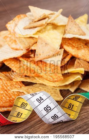 Centimeter With Salted Crisps And Cookies, Concept Of Unhealthy Food And Slimming