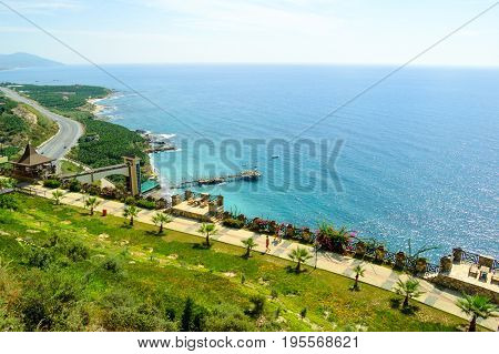 Aerial View of Beautiful Green Exotic Summer Coast. Travel and Vacation Concept.