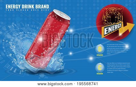Energy drink metal can mockup with water splash and drops for advertisement layout 3d template for your design. Illustrated realistic vector.