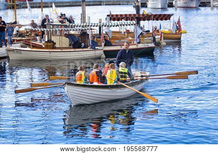 Hobart Australia-February 11 2005. Old timber boats moored in the port of Hobart during the Wooden Boat Festival