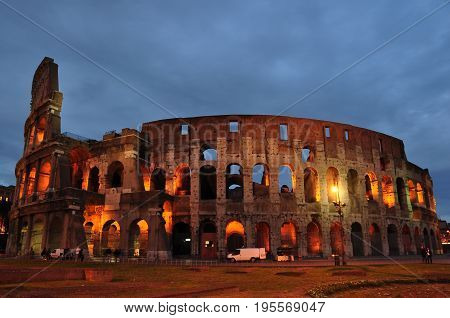 Rome Italy,November 7th 2010.One of the wonders of the world the Roman Colosseum at night stands proud after 2000 years of erosion.A true architectural marvel.Visit Rome and create your own experience and memories.