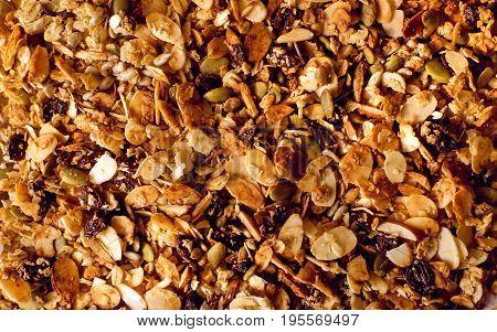 granola, muesli texture. granola, muesli texture background