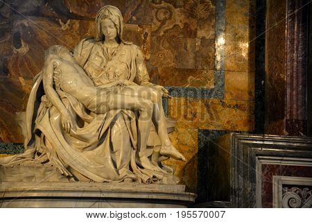 St.Peters basilica,Rome Italy,November 6th 2010.Michelangelo's first sculpture The Pieta is in St.Peters basilica in Rome Italy at the Vatican.The only piece of work Michelangelo signed.
