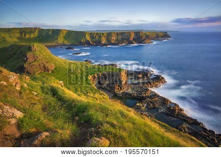 view on Portnaboe bay and North Antrim Cliff from Great Stookan along the Giant's Causeway, County Antrim, Northern Ireland, UK