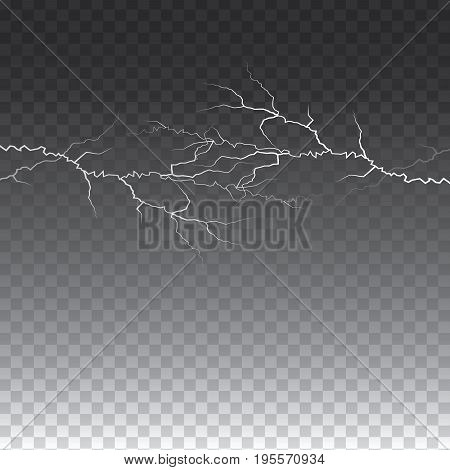 lightening and thunder bolt or electric glow and sparkle effect on transparent background