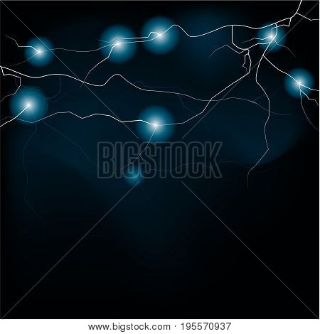 lightening and thunder bolt or electric, glow and sparkle effect on background